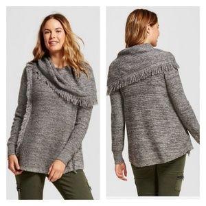 Knox Rose | Marled Fringe Cowl Neck Sweater | XL